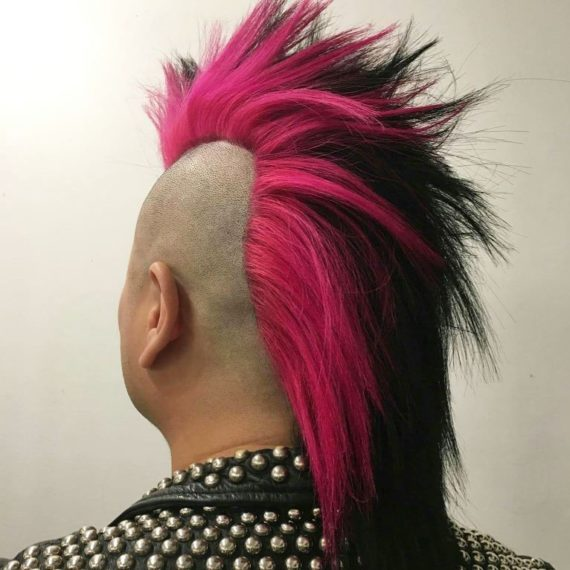 punk hair, mohawk, pink dye